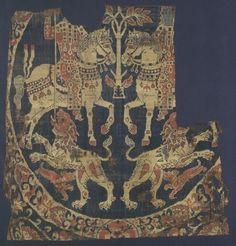 Samit façonné avec une chasse impériale dit Suaire de saint Austremoine, soie…