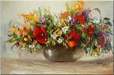 Malarstwo i Fotografia - Ewa Bartosik: Kwiaty Polne Floral Arrangements, Vase, Flowers, Plants, Paintings, Oil, Decor, Poppies, Angel Wings