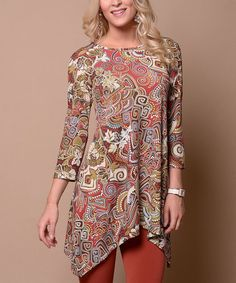 Love this Coral & Green Mosaic Sidetail Tunic on #zulily! #zulilyfinds