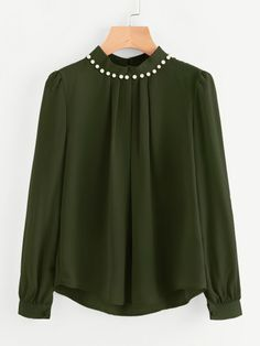 Shop Pearl Beading Puff Sleeve Chiffon Blouse at ROMWE, discover more fashion styles online. Puffy Sleeves Blouse, Collar Blouse, Indian Blouse, Pleated Fabric, Plain Tops, Couture, Mode Inspiration, Romwe, Blouse Designs