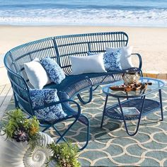 Rizza Outdoor Sectional Furniture and Swirl Tiles Outdoor Rug ...I love this color in the garden.