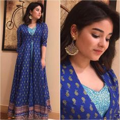 10 Looks That Are Testimonial Of Zaira Wasim's Superstar Status Indian Attire, Indian Wear, Indian Outfits, Long Gown Dress, Sari Dress, Bandhani Dress, Kurti Designs Party Wear, Lehenga Designs, Churidar Designs