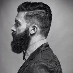 Levi Stocke - full thick dark beard and mustache undercut hair slick beards bearded man men mens' style #beardsforever