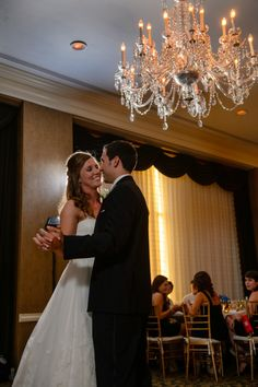 first dance, chandelier  Wedding at Arlington Heights United Methodist and The Fort Worth Club
