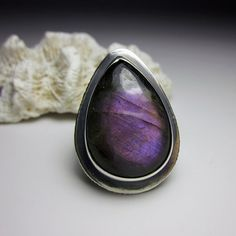 Purple Labradorite Guardian Ring Sterling Silver by sarawestermark