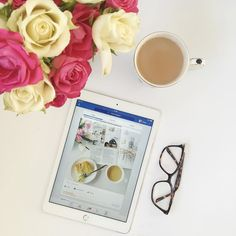 Good #morning and I hope you had a nice weekend? I'm easing into the new week with a little social media catch up over breakfast! Have a lovely day x #behindthescenes #monday #letsdothis #flowers #tea #ipad #websitedesigner #selfemployed #smallbusiness #thatsdarling #girlboss #pretty