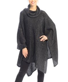 This Black & Gray Sidetail Cowl Neck Poncho is perfect! #zulilyfinds