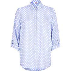 Light blue polka dot roll sleeve shirt £38.00