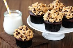 Chocolate cupcakes with cookie dough frosting.....