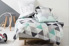 Astrid Mint Duvet Cover Set by Squiggles