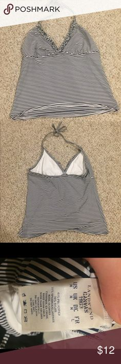 Lands' End Striped Tankini Top Never worn, didn't fit my chest, but I am so sad because it's super cute and good quality Lands' End Swim
