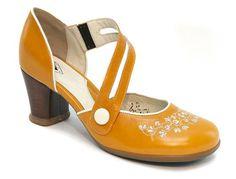 Fluevog Operette Viardot.  Mustard yellow + Mary Jane + embossed detail = <3