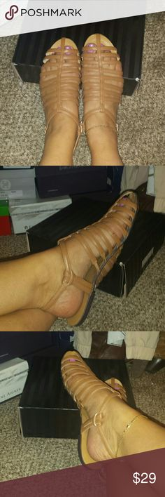 VICTORIAS SECRET SANDALS Tan in color , prefect Condition and easy to walk in.comes with VS shoe box.They still look new because I hardly ever wore them.Ive got too many shoes. Victorias Secret  Shoes Sandals