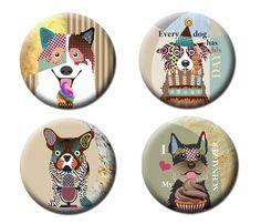 Dog Art Fridge Magnets, Border Collie Dog, French Bull Dog, Schnauzer Dog, Gift Idea Dog Art, 2. 25 inches diameter and 0.25 inches thick