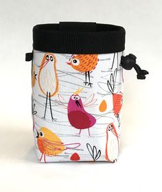 bird chalk bag, rock climbing chalk bag, chalk bag climbing, red birds, yellow birds, orange birds