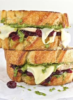 Turkey, Pesto and Cranberry Melt- Perfect for leftovers!