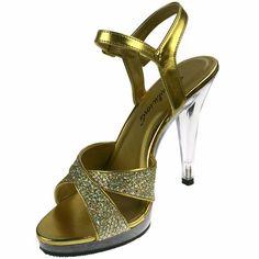 Pleaser Sandals Crisscross Glitter Platform Clear High Heels Flair-419G Gold