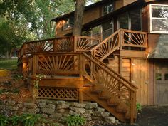 Beautiful deck.  Sunburst railing.