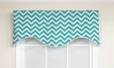Get ready to energize your decor with our Zig-Zag Cornice Valance in turquoise!