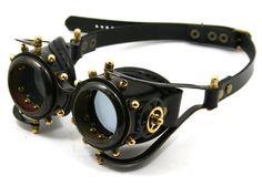 STEAMPUNK GOGGLES made of blackened brass black leather gears decor Anatoray Volunteer's design no.2. $240.00, via Etsy.