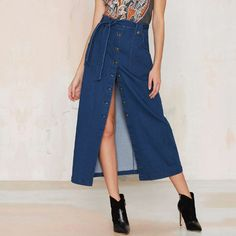 Spring New Women Denim skirts Long Skirt High Waist Jeans Maxi Skirts Saias jeans Longa Feminina Casual Plus Size Skirt 995 - Dark Denim Blue, XL Great, huh? Get it here