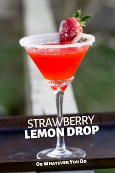 This refreshing and easy strawberry lemon drop is a martini that is made for summer. Featuring vodka, triple sec, simple syrup, lemon, and strawberry. Berry Cocktail, Cocktail Ideas, Strawberry Martini, Lemon Drop Martini, Lemon Drop Cocktail, Lemonade Cocktail, Cocktail Drinks, Coctails Recipes, Best Martini Recipes