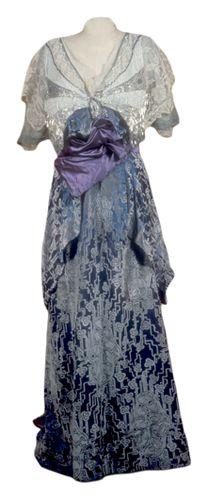 H. Luey; Luey, Herbert U.S.: New York, Brooklyn; U.S. (1860 - 1916) Dress, evening (woman's) c. 1915 Plain weave; Beaded; Net, machine; Pile; Embroidered; Twill weave; Gauze weave Silk; Velvet, voided,; Silk satin; Silk chiffon; Cotton net lining; Beads (glass); Rhinestones; Metallic thread; Whalebone; Metal hooks and eyes; Elastic; Beads and beadwork; Filet lace TC 77.8-82