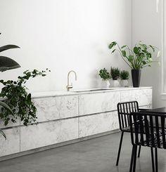 Minimalistic kitchen with green plants | My Paradissi
