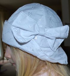 White floppy summer hat Cotton fabric with white bow Girls