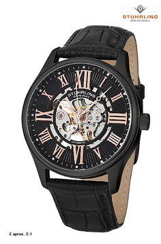 Reloj de la firma #Stuhrling Original, correa de piel, esfera negra esqueletizada, automático.