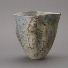 Lot:833: Delft Incised Vase by Lies Cosijn & Rosenthal, Lot Number:833, Starting Bid:$150, Auctioneer:Michaan's…