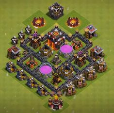 Best Town Hall 4 War, Farming and Hybrid Bases Anti Giants These base designs can defend giants archer and barbarians with ease. Town Hall 4, Barbarian, Clash Of Clans, Farming, Layouts, Base, Design, Games, Cool Art Drawings