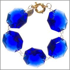 Amanda Pearl Cobalt Blue Crystal Bracelet - for the bride or bmaids gift