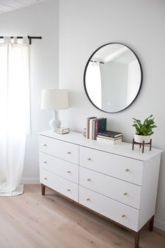 Modern White Dresser: A West Elm Inspired Ikea Hack Taking a simple pine dresser and turning it into a modern white piece! This is the best West Elm inspired Ikea hack out there! Cool Bedroom Furniture, Ikea Bedroom, Bedroom Dressers, Cheap Furniture, Home Decor Bedroom, Modern Furniture, Furniture Ideas, Bedroom Ideas, Master Bedroom
