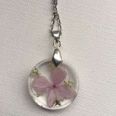 Romantic Pink Flower Necklace by ShellsArtGarden on Etsy Handmade Necklaces, Handmade Items, Handmade Gifts, Dried Flowers, Pink Flowers, Clear Resin, Stainless Steel Chain, Flower Necklace, Necklace Lengths
