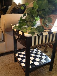 Items similar to Table - side-accent- occasional- nightstand - hand painted black and white checked on Etsy Whimsical Painted Furniture, Bohemian Furniture, Painted Chairs, Hand Painted Furniture, Funky Furniture, Paint Furniture, Furniture Makeover, Painted Tables, Furniture Design