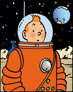 Tintin being photographed on the Moon. Very first time mankind saw the Earth from space!