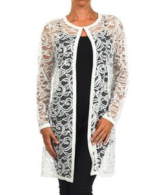 Love this White Lace Open Cardigan on #zulily! #zulilyfinds