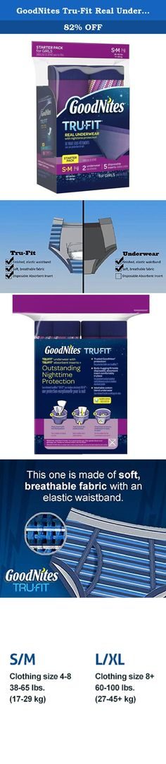 GoodNites Tru-Fit Real Underwear with Nighttime Protection Starter Pack for Girls, Small and Medium, 7 Count. Your child is not alone. Actually, one out of six children wet the bed between ages 4 and 12. That's why GoodNites has revolutionized bed wetting protection with GoodNites* TRU-FIT* Underwear and GoodNites* TRU-FIT Absorbent Inserts. Our new GoodNites* TRU-FIT* bedwetting underwear for girls look, feel and fit like real underwear, but offer outstanding nighttime enuresis…