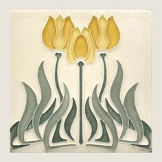 Handcrafted  Art Nouveau Tulip Tile from Motawi