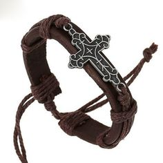 LEATHER ROPE CROSS BRACELET