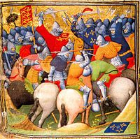 Illustration from a 15th-century manuscript showing horsemen wearing bascinets with the rounded visor used from c.1410 (source Wikipedia)