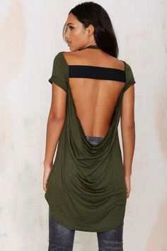 Nasty Gal Destroyer Cowl Back Tee - Green