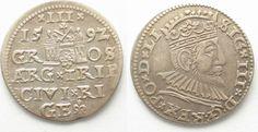 1592 Riga RIGA 3 Groschen (Trojak) 1592 GE SIGISMUND III of POLAND silver XF/XF-UNC# 95144 EF/EF-UNC
