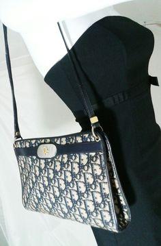 f553f7e80f78 Authentic Vintage Christian Dior Shoulder Bag Trotter Canvas Navy Blue    Beige   Clothing, Shoes   Accessories, Women s Handbags   Bags, Handbags    Purses ...
