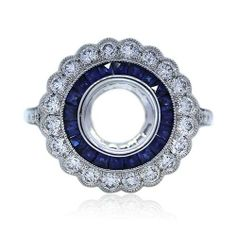 Platinum Diamond and Sapphire Engagement Ring Mounting