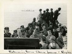 Photograph of men and women from the Army Nurse Corps returning from leave in Naples, Italy. Gift of Estelle Gage Coleman, from The Collections of The National WWII Museum, 2000.262.