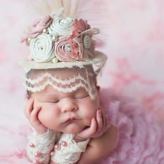 Vintage Pink and Cream Mini Top Hat for Newborn to Adult Baby Newborn Pictures, Baby Pictures, Baby Photos, Baby Girl Hats, Girl With Hat, Girls Hats, Baby Hut, Girls Mermaid Tail, Pink Tea Cups
