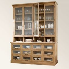 Simple lines, wooden, glass vitrine, sideboard, awesome glass drawers. Dining Room Storage, Dining Room Buffet, Kitchen Interior, Kitchen Decor, Interior Styling, Interior Decorating, Creative Storage, Kitchen Organization, Kitchen Organizers