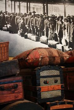Ellis Island... These are actual luggage pieces left behind from people who came through Ellis Island... Extremely humbling & sorrowful. You will not be the same once you leave...